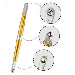 Manual Tattoo Pen with Three Heads - Gold